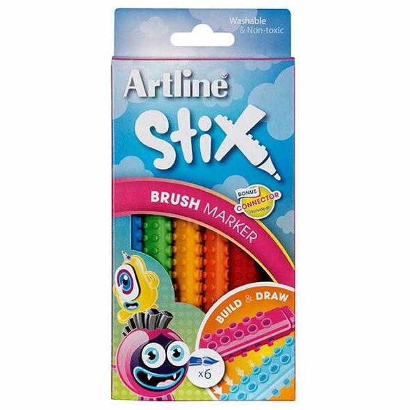 Artline Stix Brush Marker 6Pack 131071