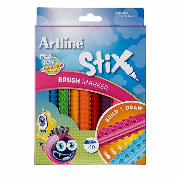 Artline Stix Brush Marker Pack10 131072