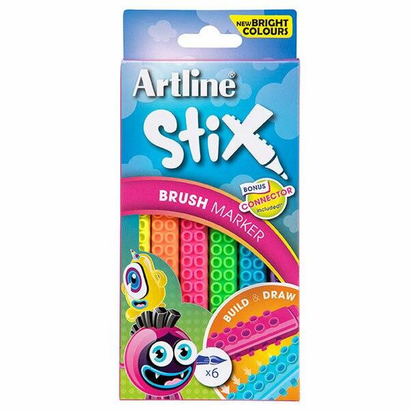 Artline Stix Brush Marker Neon 6Pack 131074