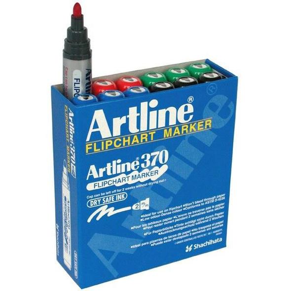 Artline 370 Flipchart Marker 2mm Bullet Nib Assorted BOX12 137041