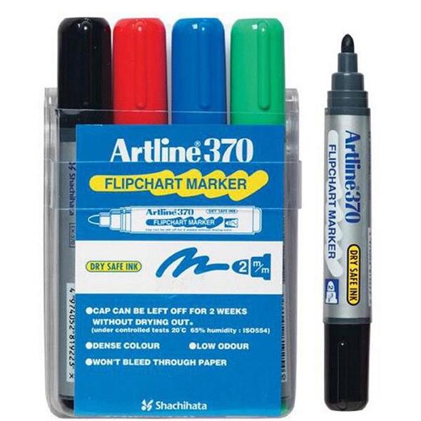 Artline 370 Flipchart Marker 2mm Bullet Nib Assorted Wallet4 137044