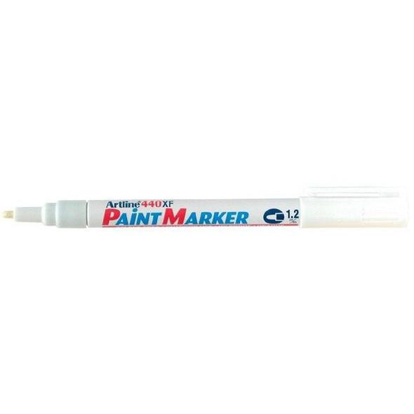 Artline 440 Permanent Paint Marker 1.2mm Bullet White BOX12 144033