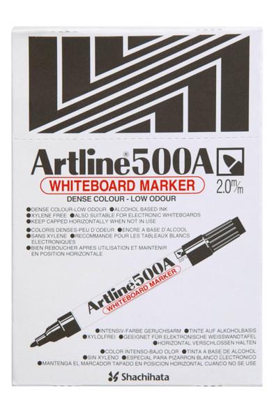 Artline 500a Whiteboard Marker 2mm Bullet Nib Black BOX12 150001