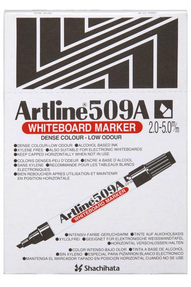 Artline 509a Whiteboard Marker 5mm Chisel Nib Black BOX12 150901A