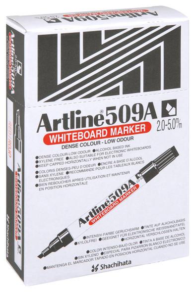 Artline 509a Whiteboard Marker 5mm Chisel Nib Red BOX12 150902A