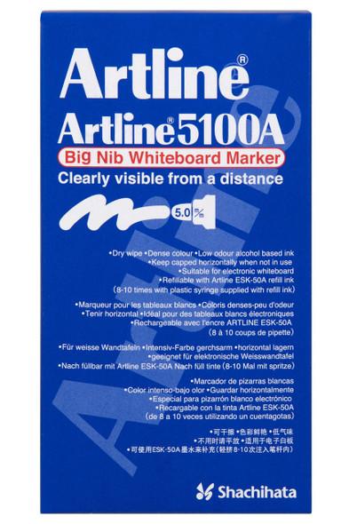 Artline 5100a Whiteboard Marker 5mm Bullet Nib Black BOX6 151001