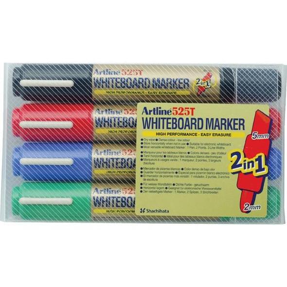 Artline 525t Whiteboard Marker Dual Nib Assorted Wallet4 151544