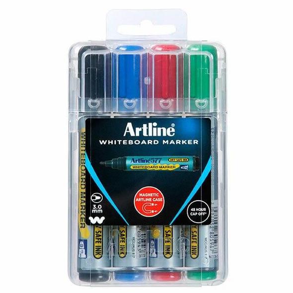 Artline 577 Whiteboard Marker Assorted Hard Case X CARTON of 6 157744HC