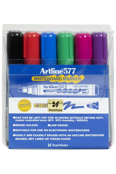 Artline 577 Whiteboard Marker Assorted Wallet6 157746