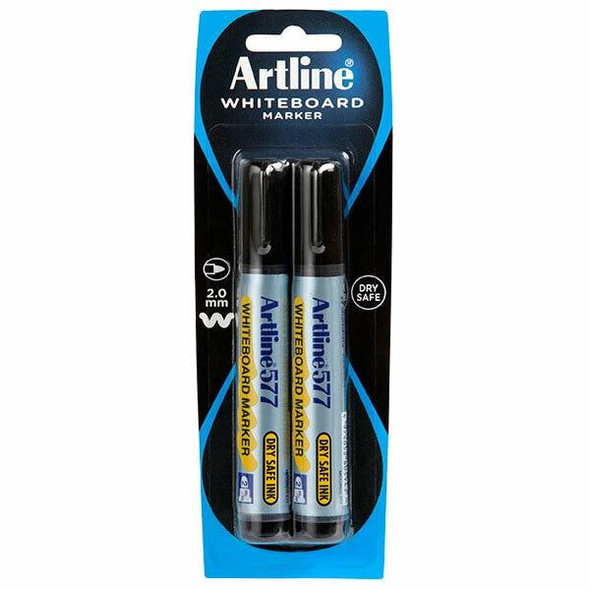 Artline 577 Whiteboard Marker 2Pack Black Hangsell X CARTON of 6 157771