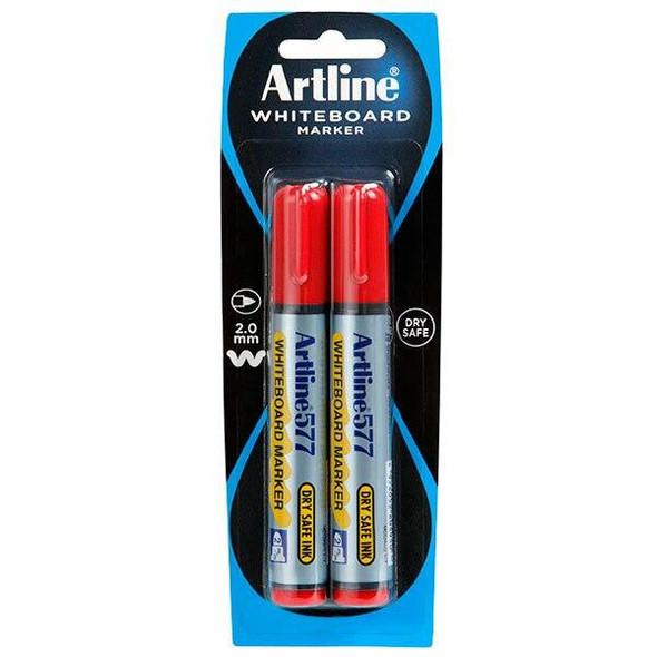 Artline 577 Whiteboard Marker 2Pack Red Hangsell X CARTON of 6 157772