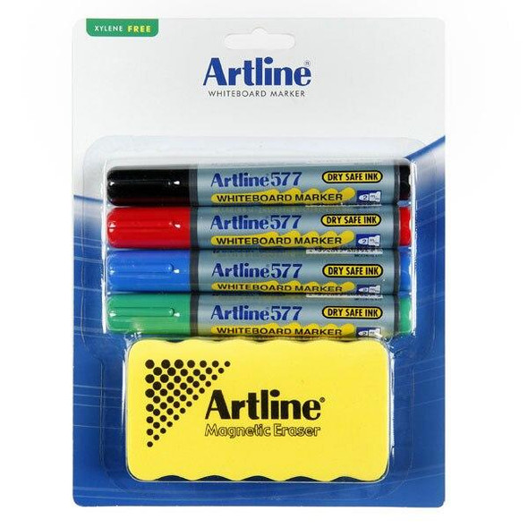 Artline 577 Whiteboard Marker Kit Magnet Eraser Hangsell X CARTON of 6 157791