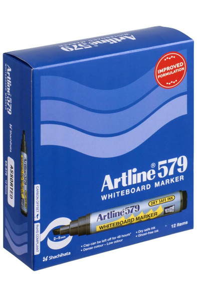 Artline 579 Whiteboard Marker 5mm Chisel Nib Assorted BOX12 157941