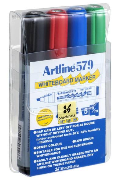 Artline 579 Whiteboard Marker 5mm Chisel Nib Assorted Wallet4 157944