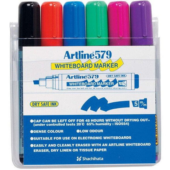 Artline 579 Whiteboard Marker 5mm Chisel Nib Assorted Wallet6 157946