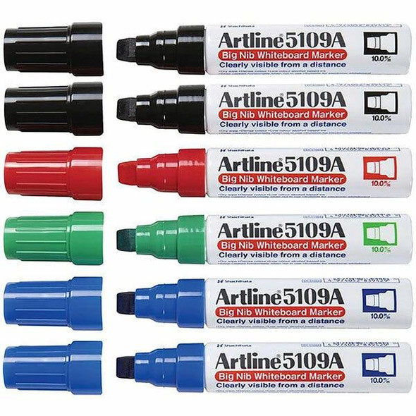 Artline 5109a Whiteboard Marker 10mm Chisel Nib Assorted BOX6 159041