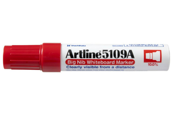 Artline 5109a Whiteboard Marker 10mm Chisel Nib Red Hangsell X CARTON of 6 159062