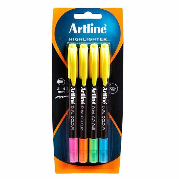 Artline Dual Nib Highlighter Assorted 4Pack X CARTON of 6 164174
