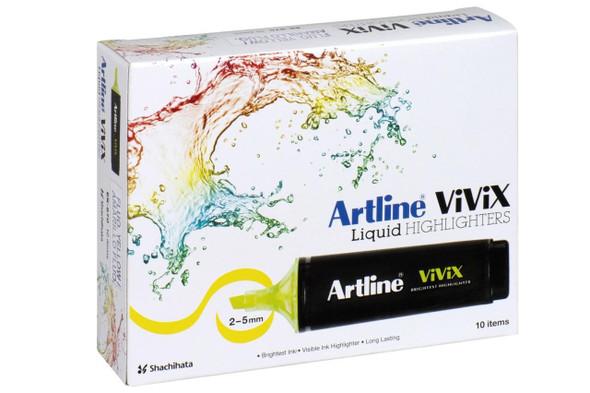 Artline Vivix Highlighter Yellow Pack10 BOX10 167007