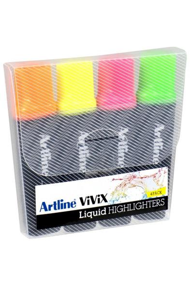 Artline Vivix Highlighter Assorted Wallet4 167074