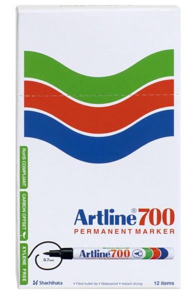 Artline 700 Permanent Marker 0.7mm Bullet Nib Assorted BOX12 170041