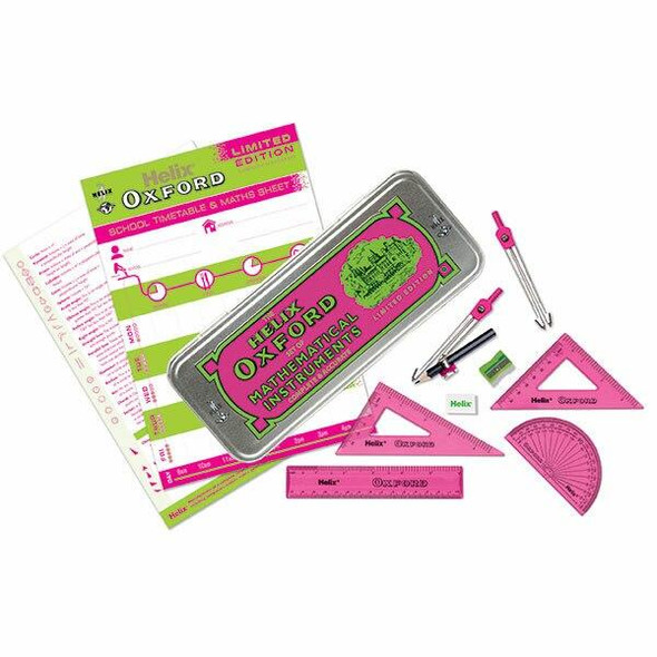 Helix Oxford Clash Math Set Pink and Green 170511