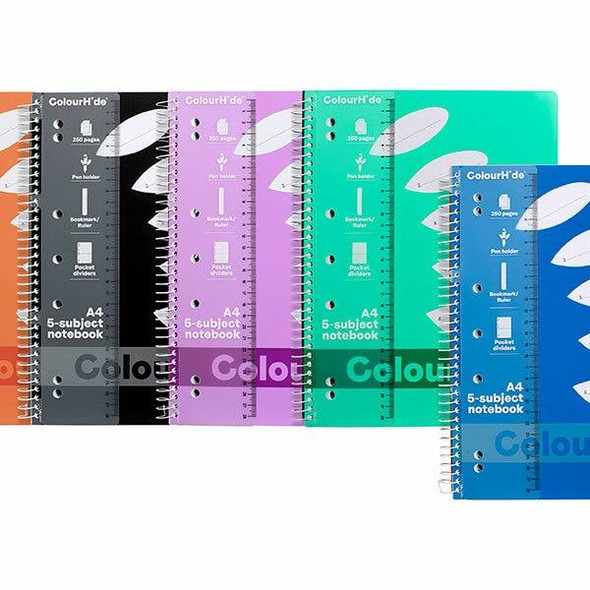 Colourhide 5 Subject Book A4 250page Assorted X CARTON of 5 17158999K