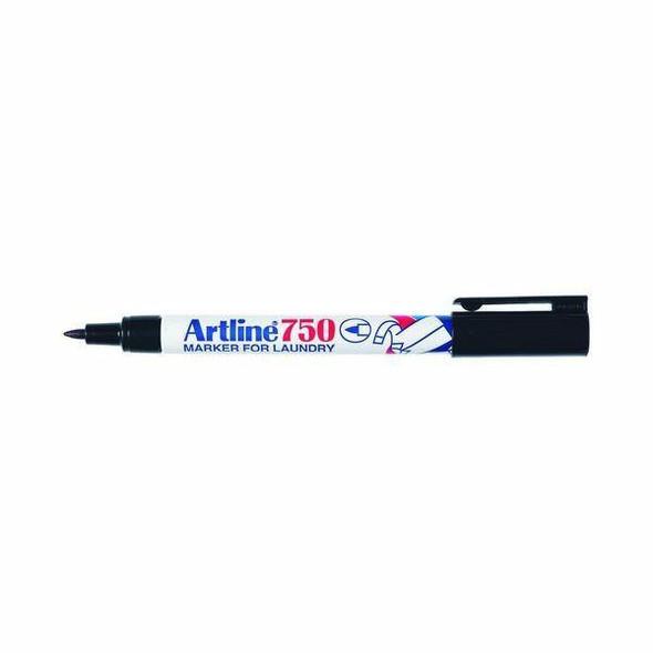 Artline 750 Laundry Marker 0.7mm Bullet Nib Black BOX12 175001