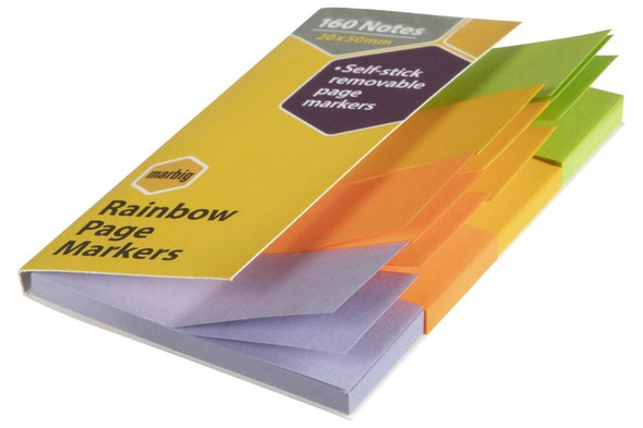 Marbig Notes Rainbow page Marker 20x50mm 160sht Rainbow page Marker 20x50mm 160s X CARTON of 10 1811399