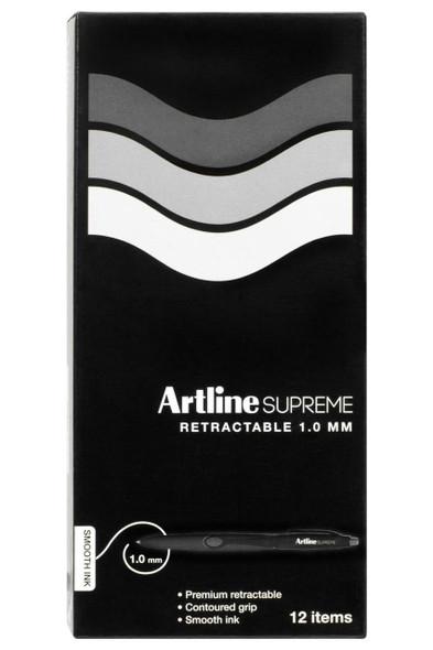 Artline Supreme Retractable Pen 1.0mm Black BOX12 181201