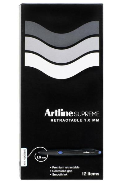 Artline Supreme Retractable Pen 1.0mm Blue BOX12 181203