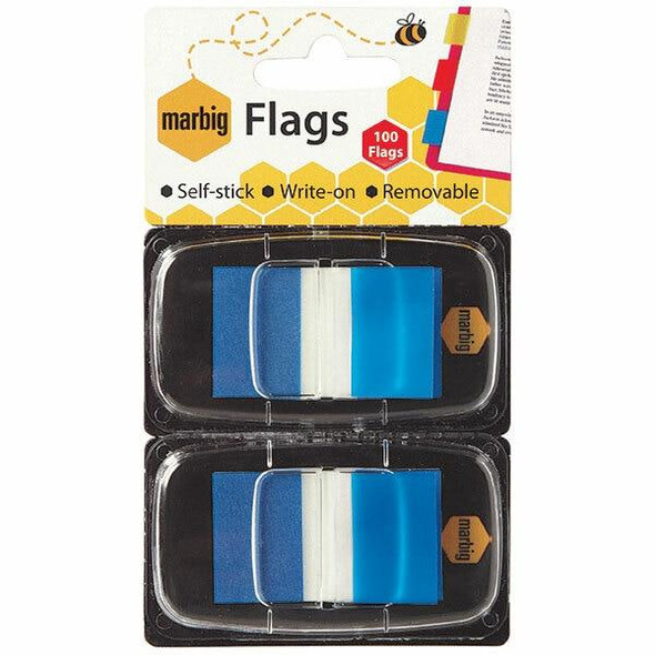 Marbig Flags - Pop Up 25x44mm 2 X 50 Transparent Blue CARTON of 10 1813501
