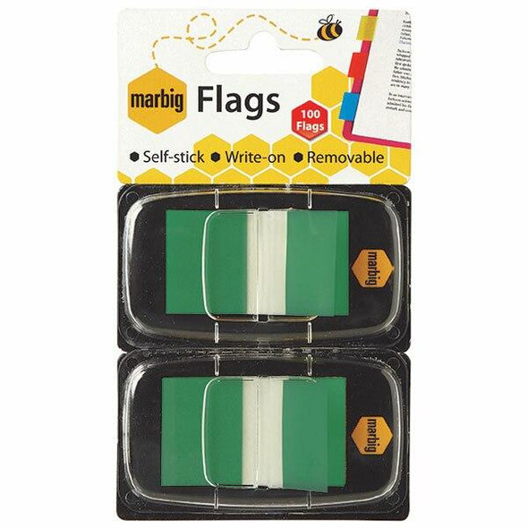 Marbig Flags - Pop Up 25x44mm 2 X 50 Transparent Green CARTON of 10 1813504