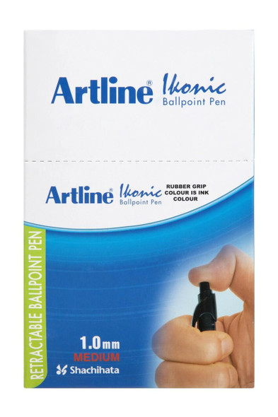 Artline 8410 Ballpoint Retractable Grip Medium Black Box50 184051