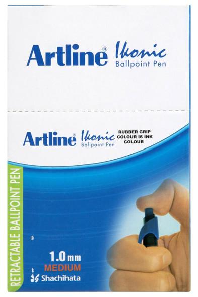 Artline 8410 Ballpoint Retractable Grip Medium Blue Box50 184053