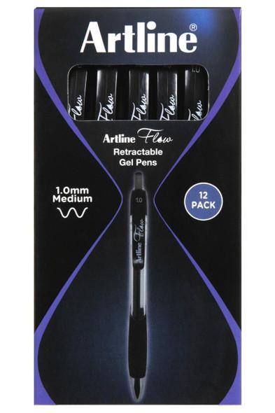 Artline Flow Retractable Pen Black BOX12 187101