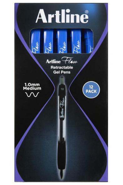 Artline Flow Retractable Pen Blue BOX12 187103