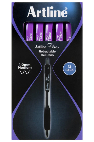 Artline Flow Retractable Pen Purple BOX12 187106