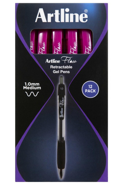 Artline Flow Retractable Pen Pink BOX12 187109