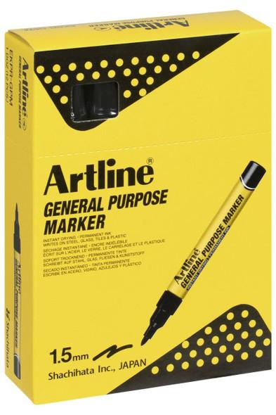 Artline General Purpose Permanent Marker Black BOX12 195101B