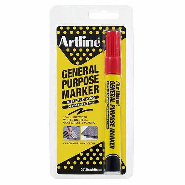 Artline General Purpose Permanent Marker Red Hangsell X CARTON of 12 195102HS