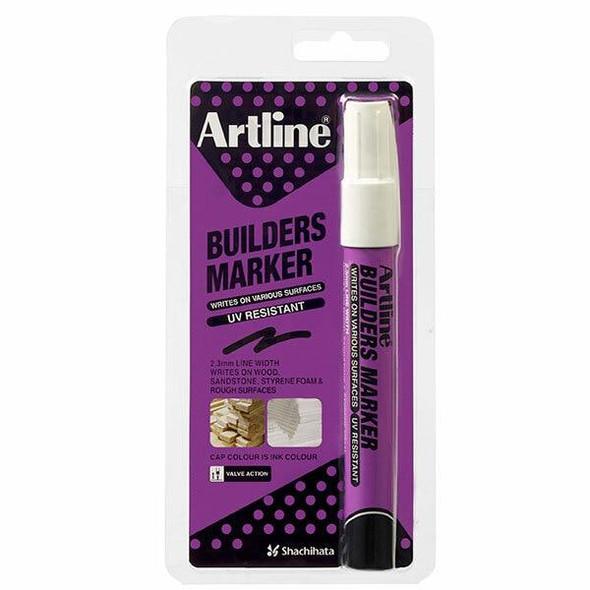 Artline Builders Permanent Marker White Hangsell X CARTON of 12 195233HS
