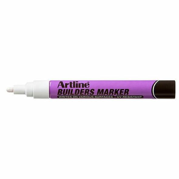 Artline Builders Permanent Marker White BOX12 195233W