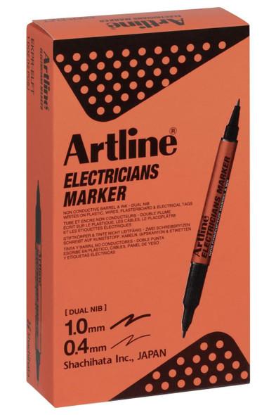 Artline Electricians Permanent Marker Dual Nib Black BOX12 195301B