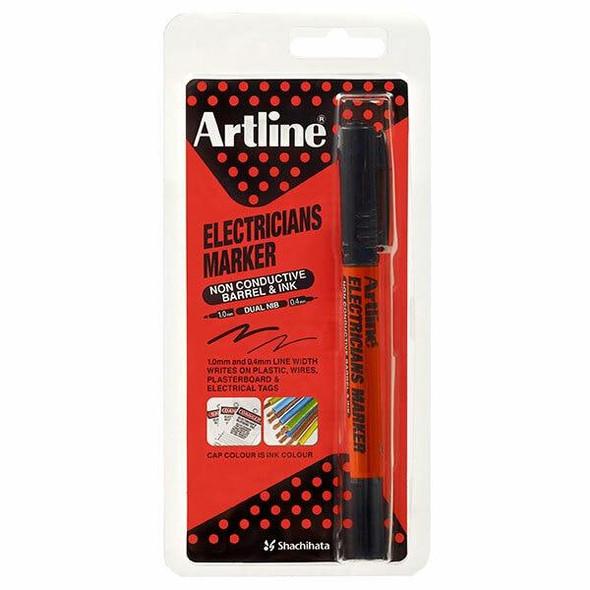 Artline Electricians Permanent Marker Dual Nib Black Hangsell X CARTON of 12 195301HS