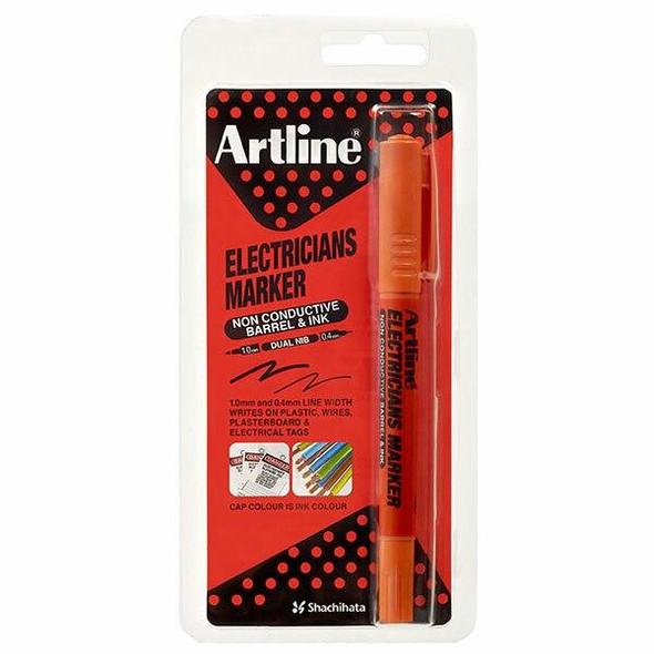 Artline Electricians Permanent Marker Dual Nib Orange Hangsell X CARTON of 12 195305HS