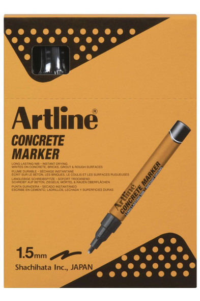 Artline Concrete Permanent Marker Black BOX12 195401B