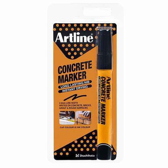 Artline Concrete Permanent Marker Black Hangsell X CARTON of 12 195401HS