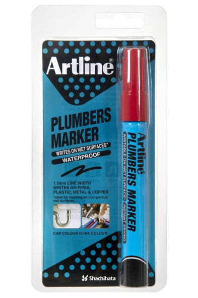 Artline Plumbers Permanent Marker Red Hangsell X CARTON of 12 195502HS