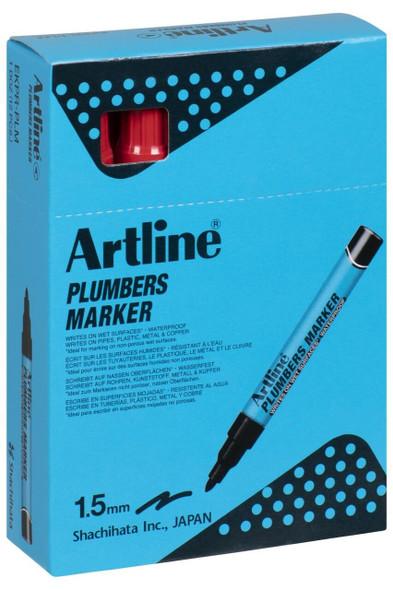 Artline Plumbers Permanent Marker Red BOX12 195502R